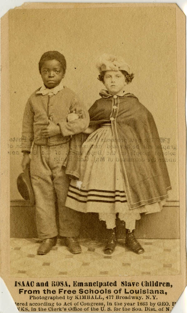 (P) Juneteenth, Freedom Day, or Emancipation Day, commemorating June 19, 1865 when the abolition of slavery was announced and enforced in the state of Texas, over two years after the Emancipation Proclamation went into effect. Isaac and Rosa, emancipated slave children, from the Free Schools of Louisiana; cabinet card photograph by M.H. Kimball, 1863. NYHS Image #78327d.