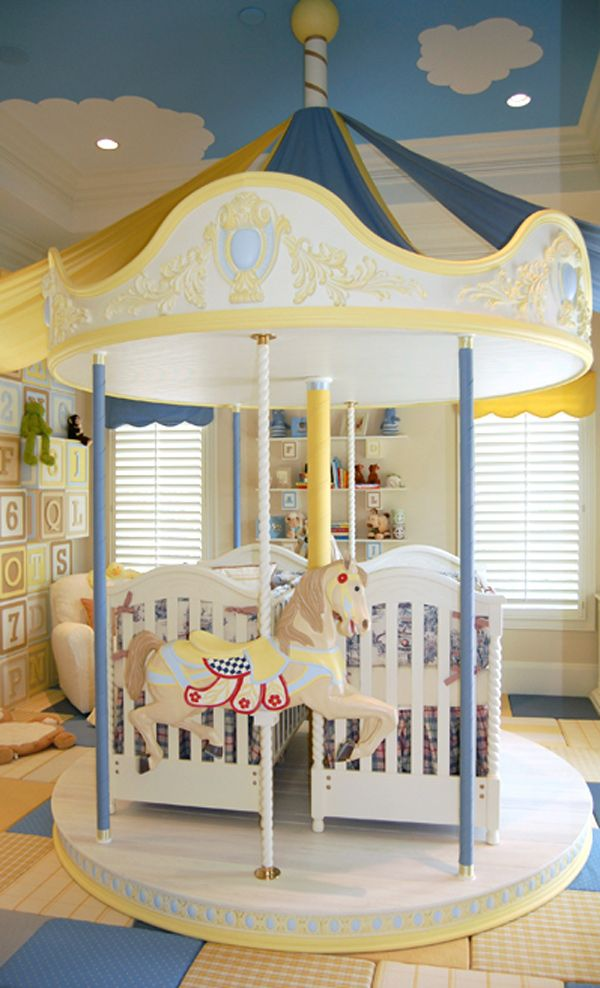 circus+bedroom+decor | magical carousel room of blue and yellow which was intended for twin ...