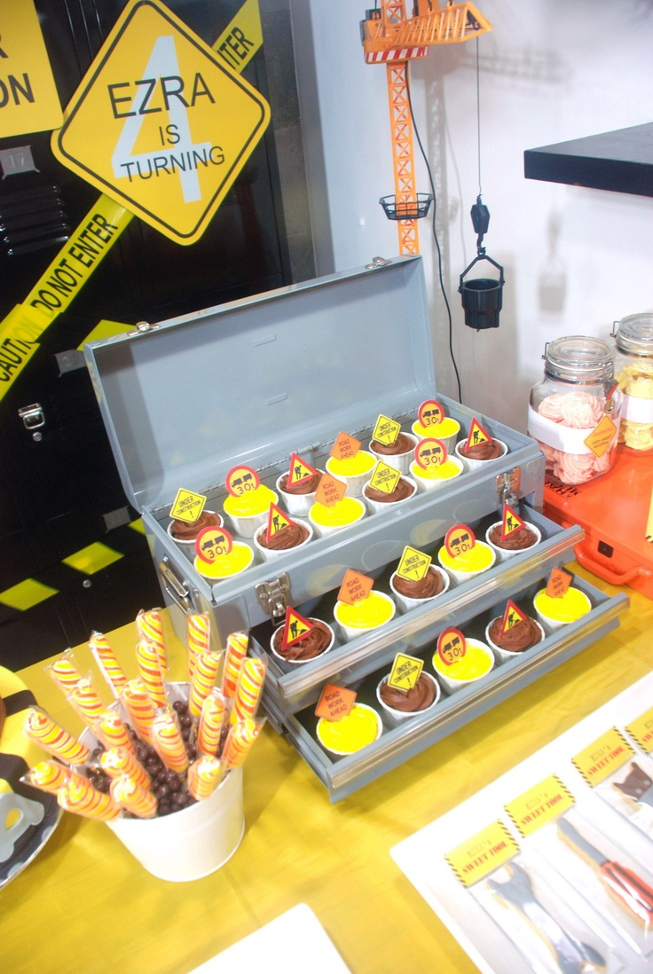 Tool box to hold snacks for a construction or Bob the Builder party.
