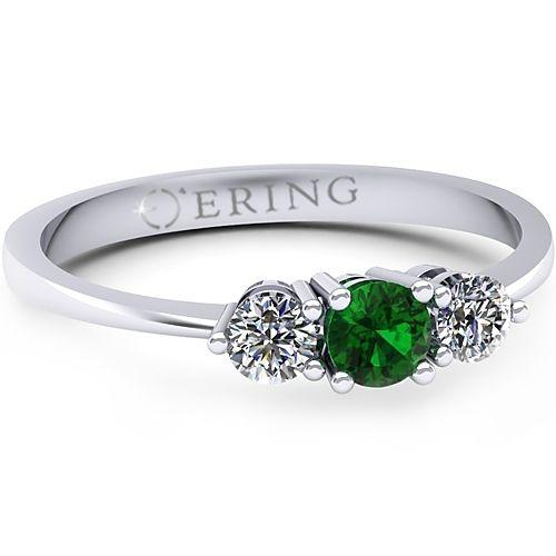 Inel logodna L92ASM inel cu diamante si smarald