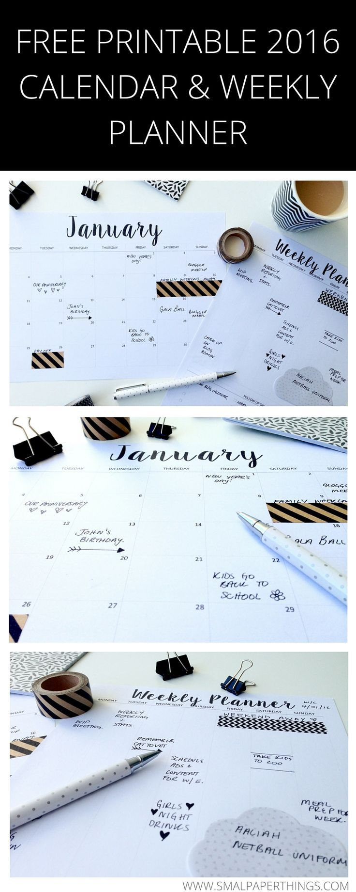 FREE Printable 2016 Calendar. Minimalist/Monochrome style calendar and weekly planner.