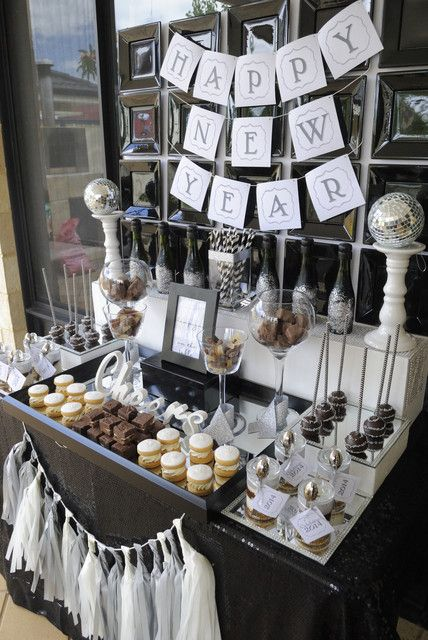 Gorgeous dessert table at a New Year's party! See more party ideas at CatchMyParty.com! #partyideas #newyear