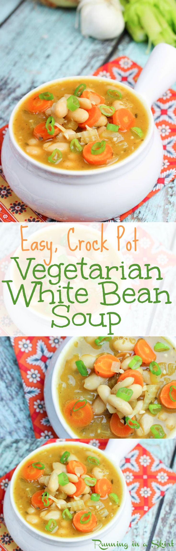 Crock Pot Vegetarian White Bean Soup recipe - full of flavor and so tasty. This simple open and dump clean eating vegan soup and simmers all day in the slow cooker. Carrots and spring onions make this dish vibrant for any month of the year! Simple, healthy and easy-- perfect for dinners or lunches. Uses vegetable stock and is vegan