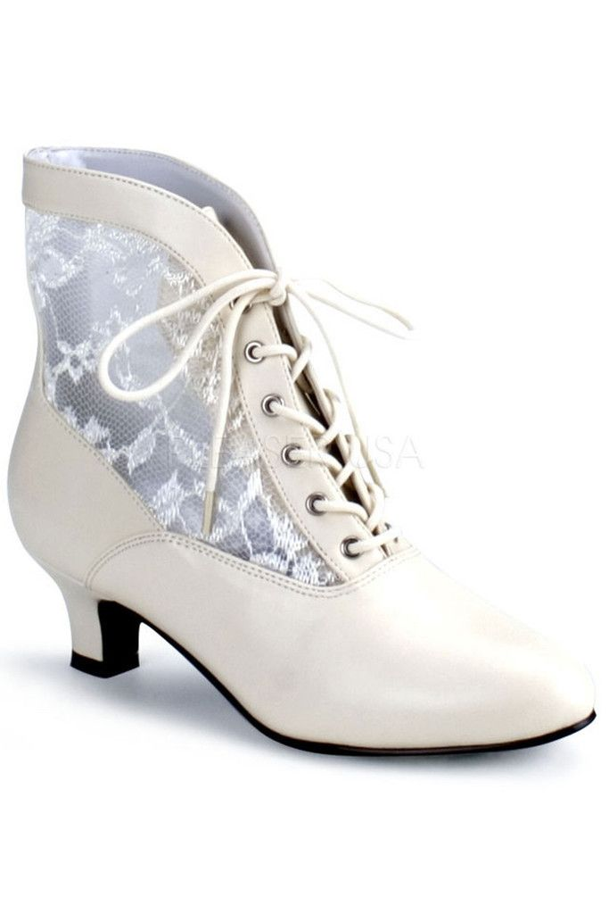 Beautiful vegan leather Victorian style bridal boots with two inch heel. Popular for weddings and white ensembles. http://www.galleryserpentine.com/collections/alternative-bridal-formal/products/victorian-style-ivory-lace-feature-ankle-boots