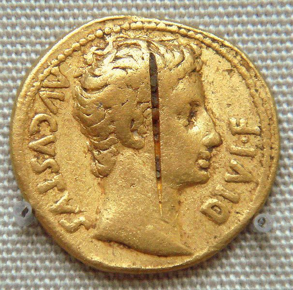 This coin, a form of Roman currency during and after his time, was made in honor to extoll the virtues of Augustus, the Roman General who followed Caesar and became the first official Emperor of Rome.