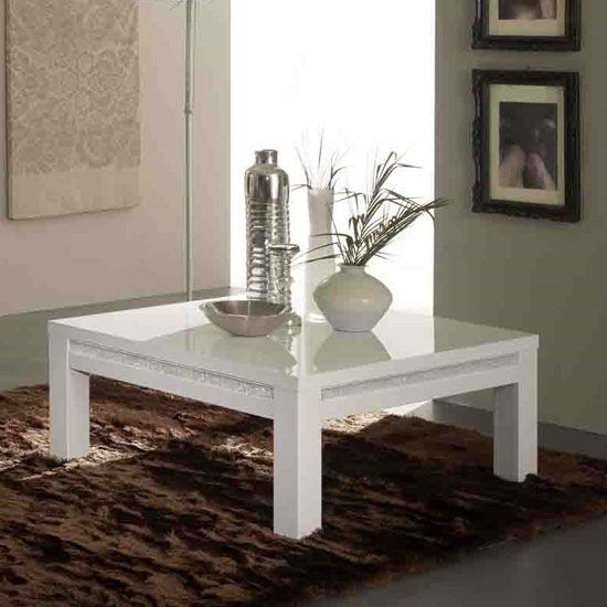 Gloria Coffee Table Square In White Gloss With Crystal Details