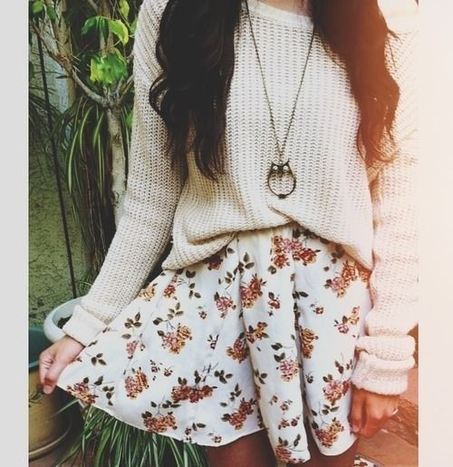 Sweater. Necklace. Floral Skirt.