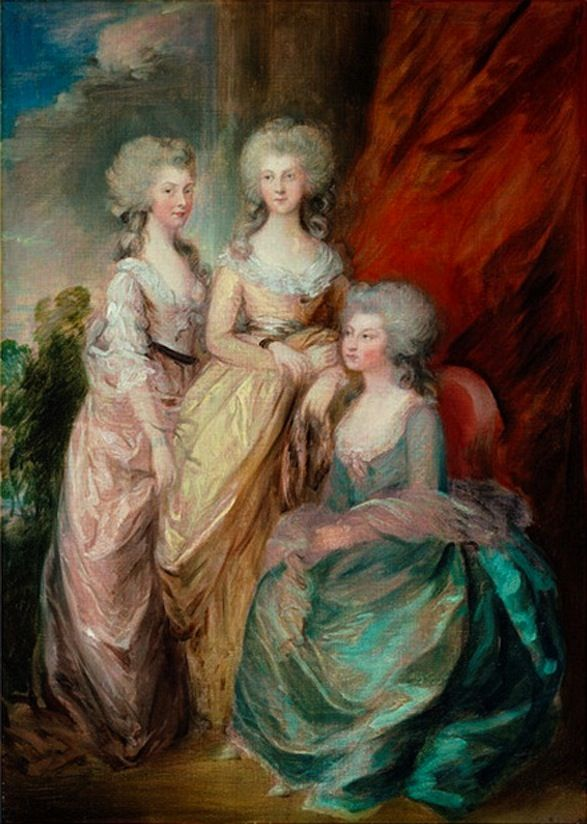 'Three eldest daughers of George III' (Charlotte, Augusta and Elizabeth) by Gainsborough Dupont, 1784