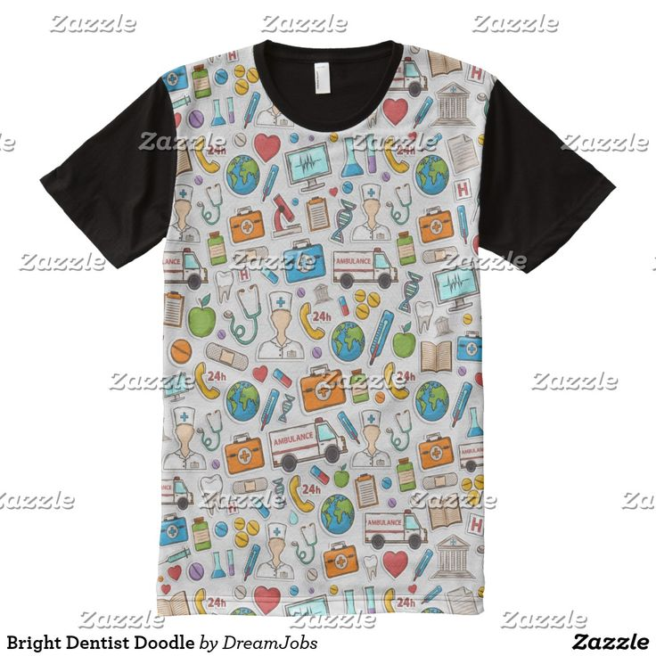 Bright Dentist Doodle. Producto disponible en tienda Zazzle. Vestuario, moda. Product available in Zazzle store. Fashion wardrobe. Regalos, Gifts. Trendy tshirt. #camiseta #tshirt