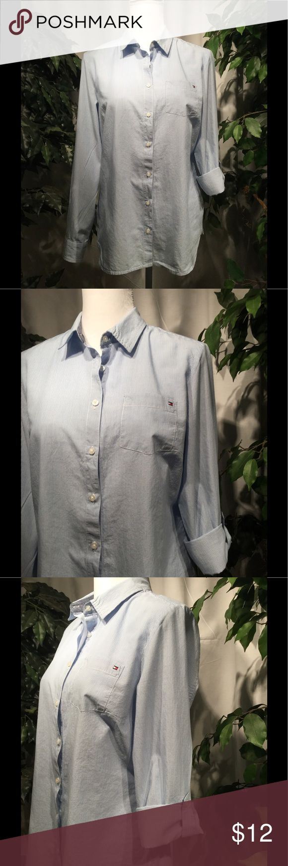Tommy Hilfiger Buttoned Down Shirt W/ Roll Sleeve Very cute tailored, striped buttoned down shirt with rolled sleeves. A very versatile shirt and a great for summer🌞🌞🌞🌞🌞 Tommy Hilfiger Tops Button Down Shirts