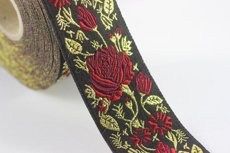 50 mm Red / Black Floral Jacquard trim (1.96 inches) - rose embroried Ribbon - Decorative Craft Ribbon - Jacquard - Jacquard Ribbon Trim by RibbonLands on Etsy https://www.etsy.com/listing/398021041/50-mm-red-black-floral-jacquard-trim-196