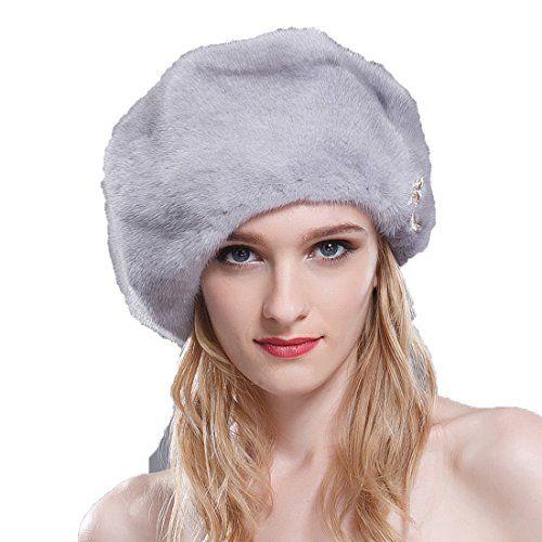 2271b9bf8be6f URSFUR Ladie s Mink Full Fur Beret Hats (SAGA Sapphire).