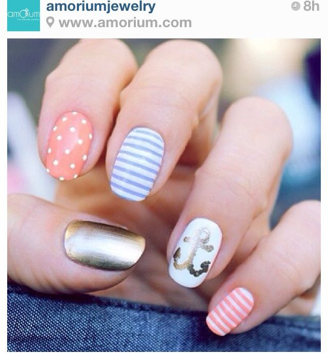 Cute nail design I like the different style of each nail