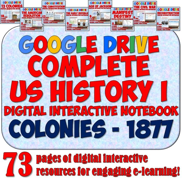 This AMAZING digital resource features Digital Notebook pages for American History 1 (The Colonies - 1877) using Google Drive! There's over 70 pages in all! Perfect for integrating technology into your US History lesson plans!