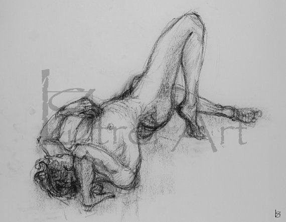 Male nude 4. Digital image of original charcoal life by ArtViStrel