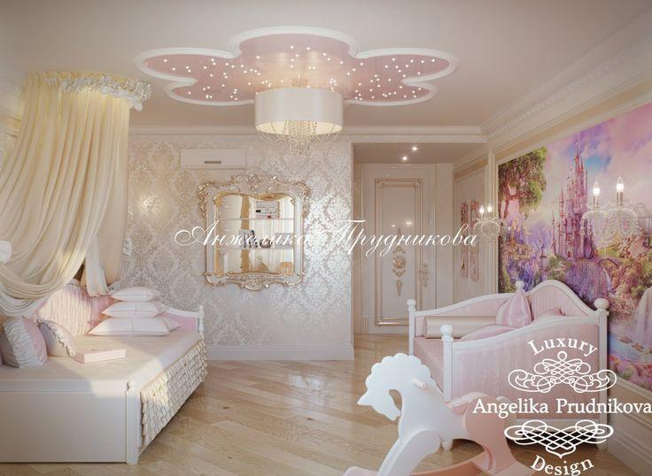 Дизайн детской комнаты для девочки в розовых тонах - фото