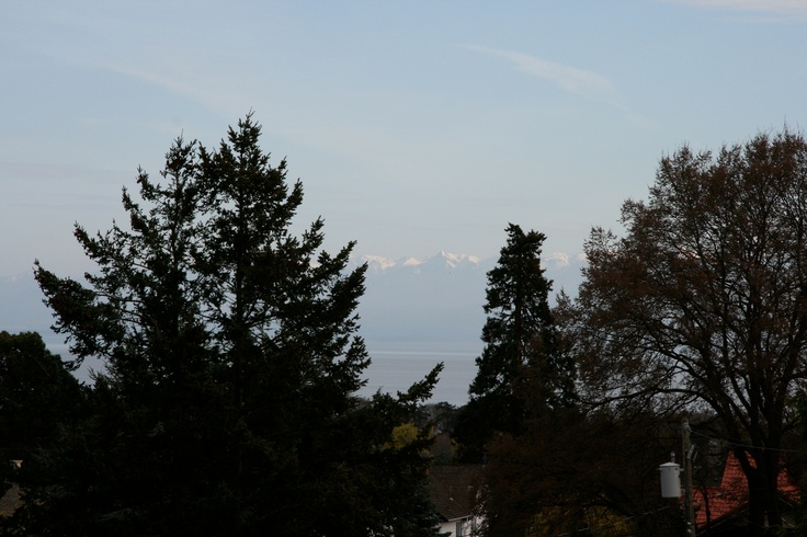 View from the Penthouse Spa of the Olympic Mountains beyond the Salish Sea