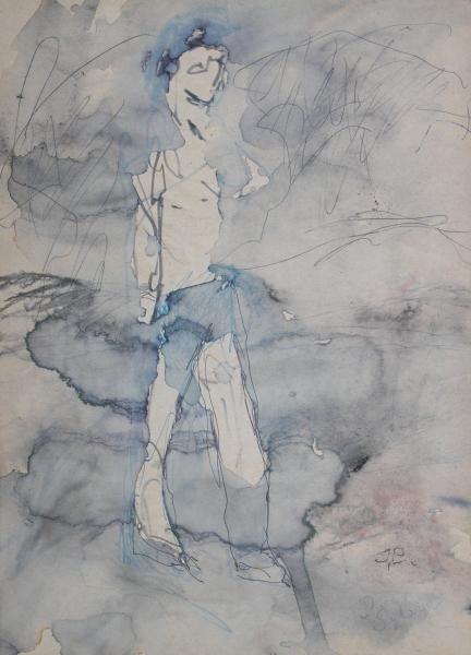 Józef CZAPSKI,Postać, tusz, akwarela, papier, 39,5 x 21 cm