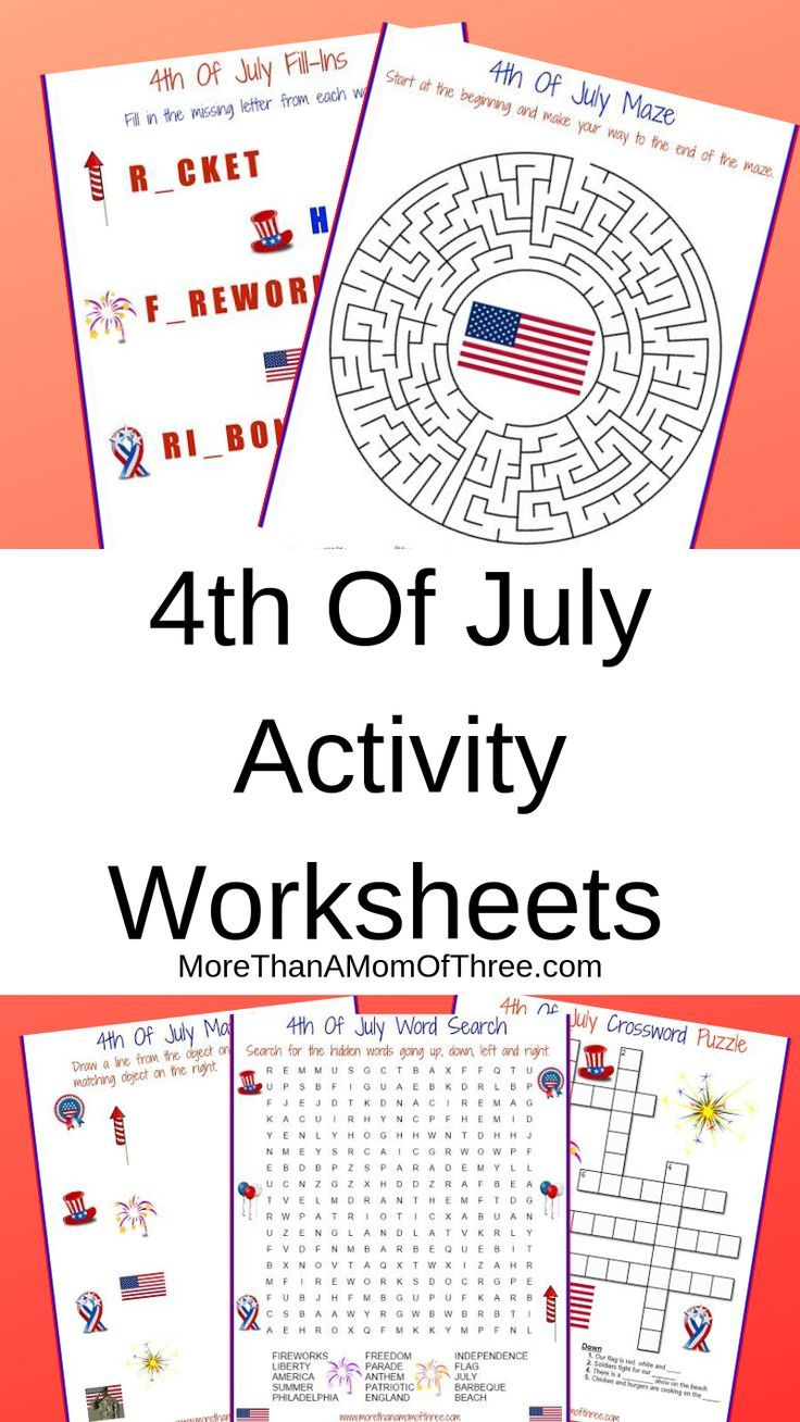 4th Of July Activity Printable Worksheets - More Than A Mom Of Three    Kindergarten worksheets [ 1308 x 736 Pixel ]