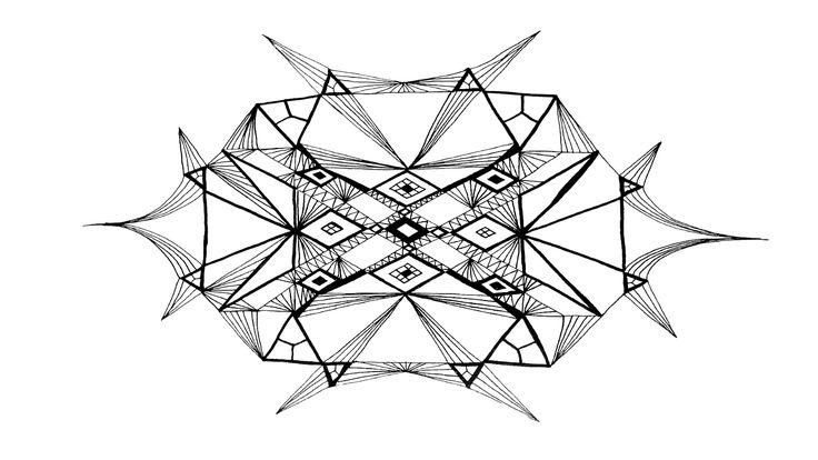 Woven webbing, japanese style #mandala #zentangle #freehand #symmetry #black and white #drawing #woven #web #webbing #strings