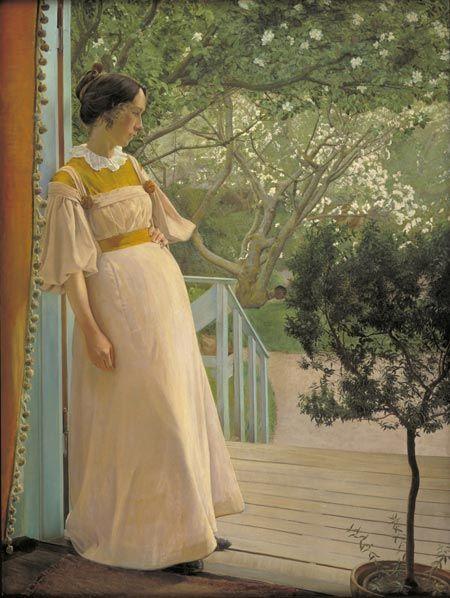 L.A. Ring, I havedøren. Kunstnerens hustru. Karrebæksminde, 1897, Olie på lærred, 191 x 144 cm, Statens Museum for Kunst, SMK Foto