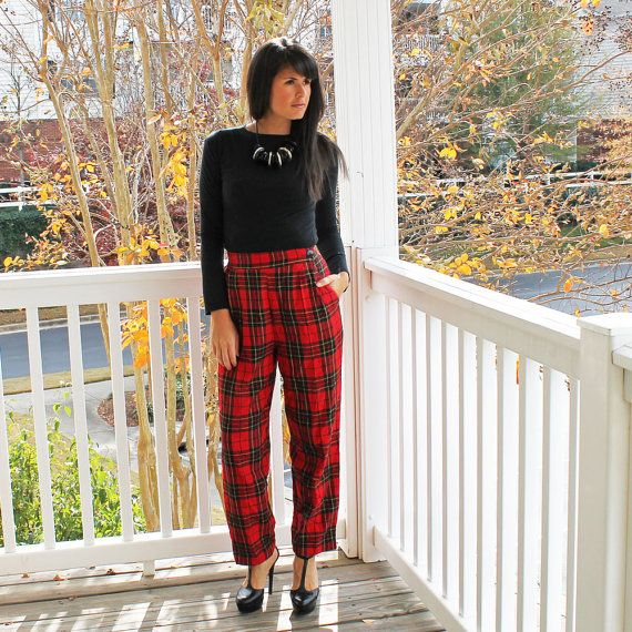 Womens Plaid Pants/ Small/Highwaisted/ Red by URTHYCHURCHYPPL ...