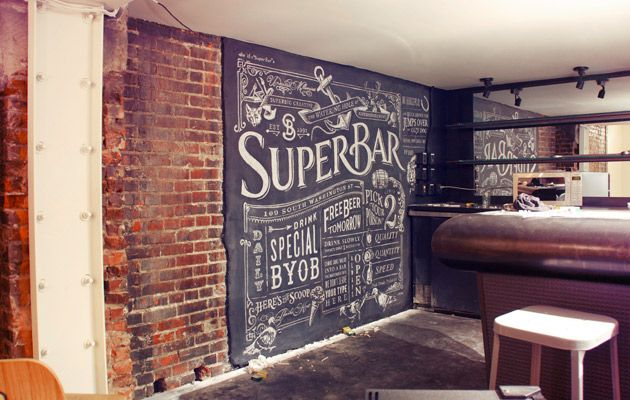 not your typical chalkboard paint wall: Chalkboards Letters, Chalk Wall, Chalk Boards, Basements Bar, Chalkboards Art, Bar Area, Chalkboards Ideas, Chalkboards Wall, Chalk Art