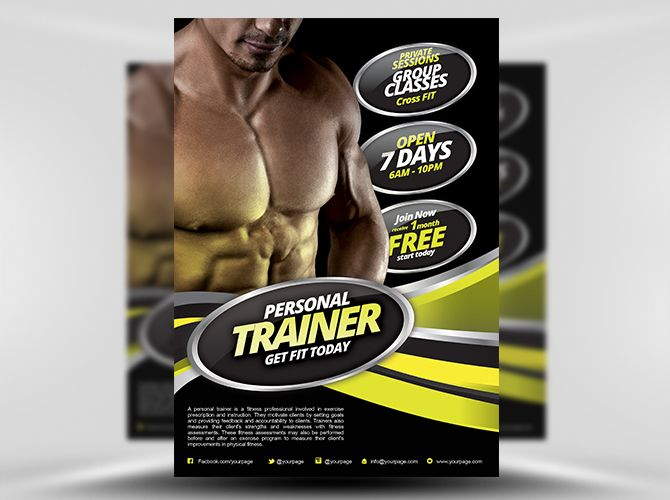 Best  Fitness Gym Images On   Flyer Template