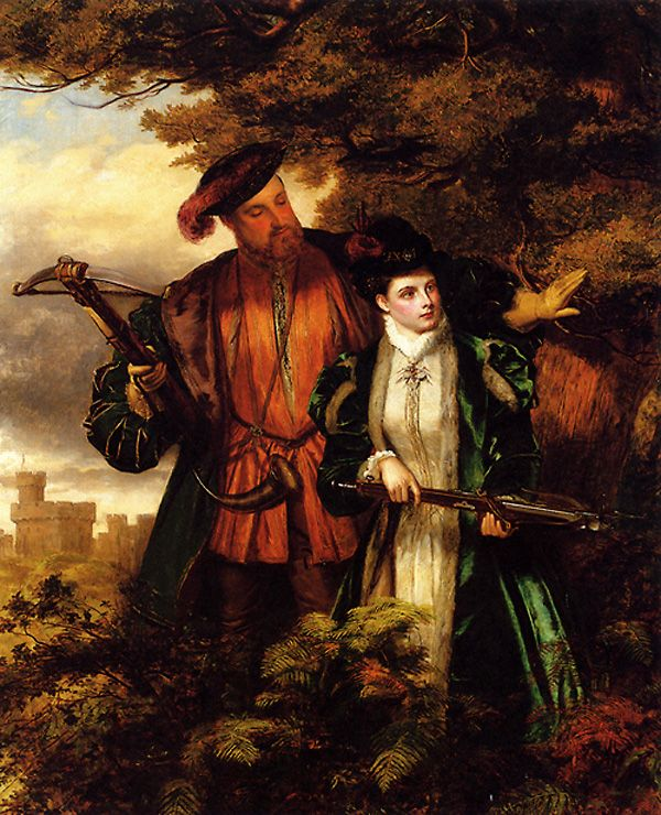 An early 20th-century painting of Anne Boleyn, depicting her deer hunting with the King