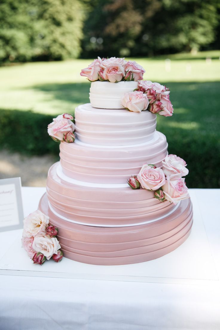 wedding cake white and pink ♥ Hochzeitstorte wei…