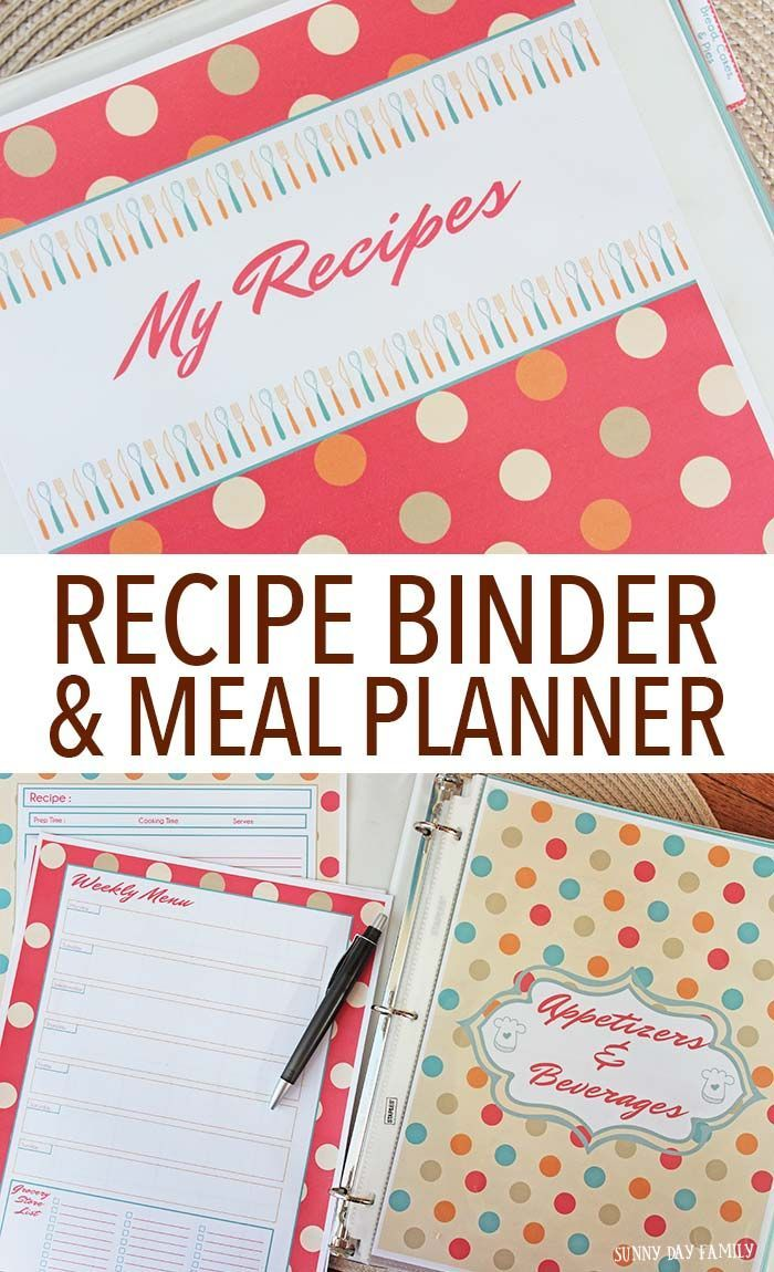 Organize your recipes & make meal planning easy with this printable recipe binder! Includes a meal planning set, recipe cards, category dividers, tabs and more. Makes a great gift too!