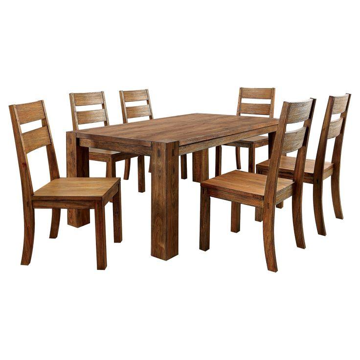 Sun & Pine 7pc Sturdy Dining Table Set Wood/Dark Oak