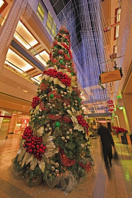 Picture of an exquisitely decorated Christmas tree in the atrium of the Banker Hall shopping mall.