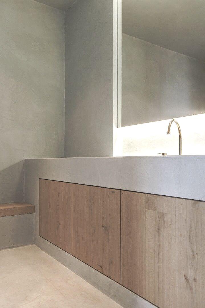 De betonlook laat zich makkelijk toepassen in de #landelijke #badkamer