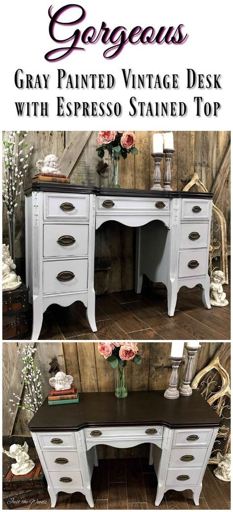 Vintage desk has been sanded, stained, painted and sealed for a gorgeous new look.