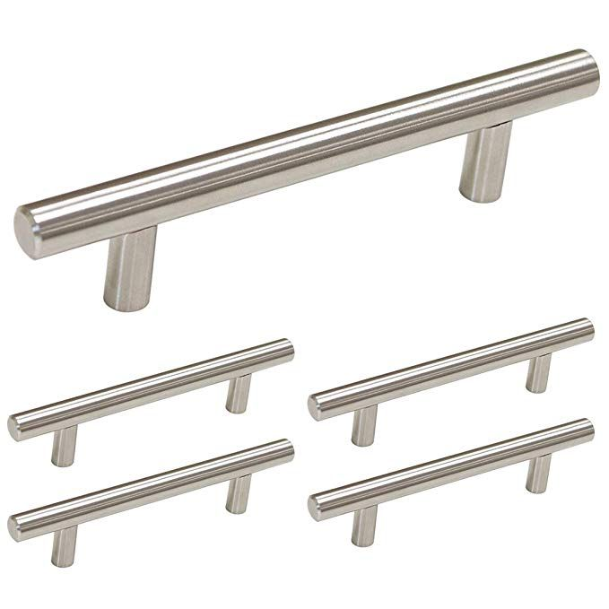 Homdiy Brushed Nickel Cabinet Pulls 5 Pack 3 5in Hole Center T Bar Cabinet Handles Hd201sn Mode Cabinet And Drawer Pulls Kitchen Drawer Pulls Cabinet Handles
