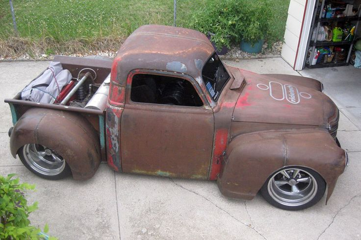 47chevy shortened, chopped & narrowed awesome & perfect! I need to build something like this...Perfect Rat Rod Truck!