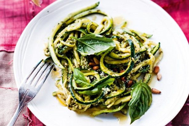 Zuchetti with Pesto...Long strips of zucchini take the place of spaghetti in this light dish.