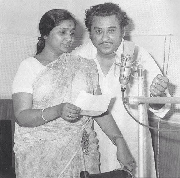 Rare photo of Kishore Kumar and Asha Bhonsle (legendary Indian singers).