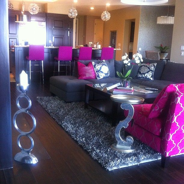 My living room in my bachlorette pad! Key colors: hot pink, grey, black, and silver. I got this from Chalene Johnson's gorgeous home.