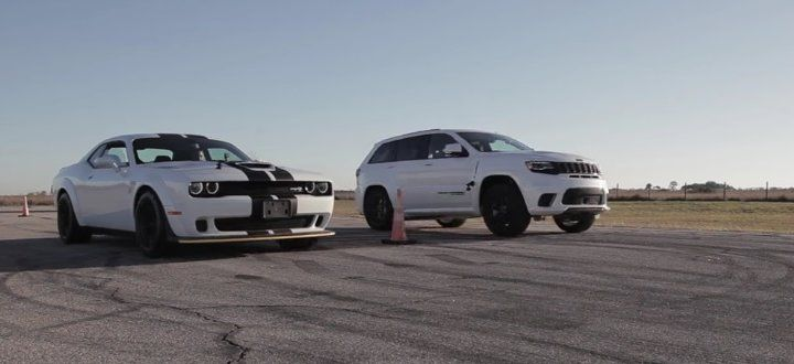 Trackhawk Vs Hellcat Challenger Drag Race Cool Sports Cars