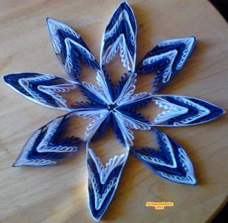 Quilling - Stern blau weiß