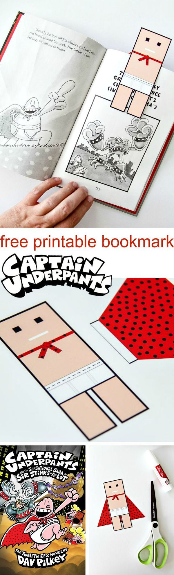Download and print this FREE Captain Underpants Bookmark. #PilkeyPower #ad