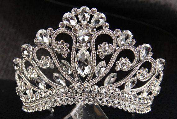 Unique handmade princess tiara crown , tiaras for wedding , crystal silver tiara for order inlaid with SWAROVSKI  Crystals and rhinestones,