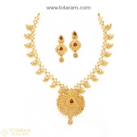 22K Gold 'Mango' Necklace & Drop Earrings Set with Uncut Diamonds & Rubies - 235-DS725 - Buy this Latest Indian Gold Jewelry Design in 43.600 Grams for a low price of  $4,137.67