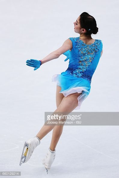HELSINKI, FINLAND - MARCH 29: Evgenia Medvedeva of Russia competes in the Ladies Short Program during day one of the World Figure Skating Championships at Hartwall Arena on March 29, 2017 in Helsinki, Finland. (Photo by Joosep Martinson - ISU/ISU via Getty Images)