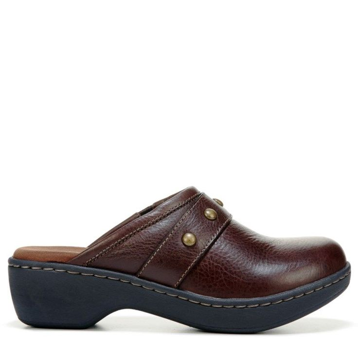 Eastland Women's Gabriella Clog Shoes (Brown Leather)