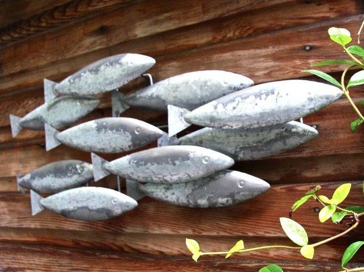 Rustic shoal of fish metal wall art