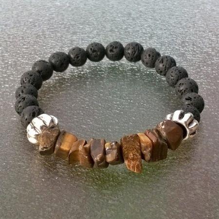 Zelf een mannenarmband maken met tijgeroog, agaat, jaspis of lava kralen