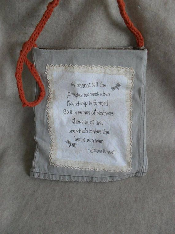 Recycled Jean t-rope Tote James Boswell friend quote